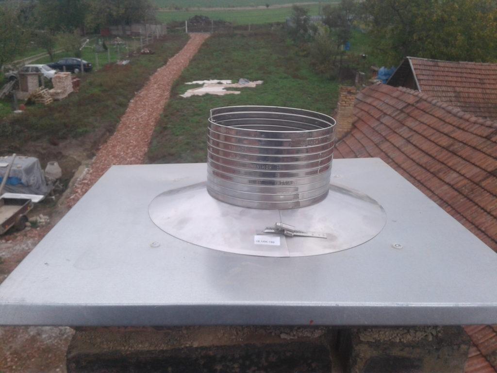 vložkování komínu-flexi komínová vložka+nové oplechování komínu-KOMINEX