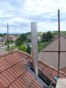 vložkování komínu pevné komínové vložky-příprava na stavbu nové nadstřešní části-KOMINEX